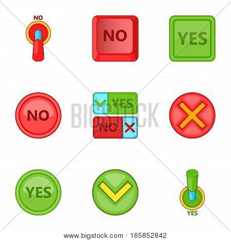 Yes and no button icons set. Cartoon illustration of 9 yes and no button vector icons for web