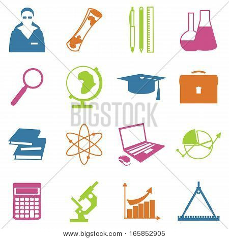 Education school university learning line icons set with science elements isolated vector illustration