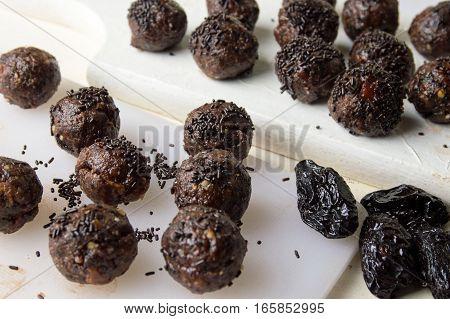 Black Chocolate Balls On A Table