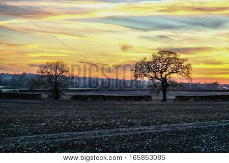 Sunset in the Essex countryside. Taken on a winter's day in the late afternoon and shows a beautiful sky over farmland.