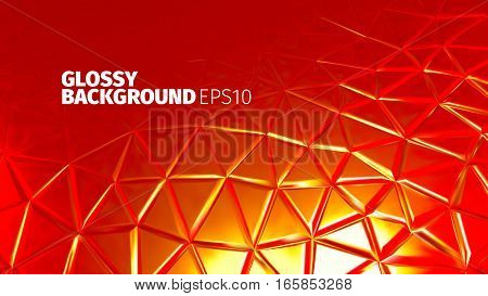 Red polygonal background. Shiny surface for web or printing