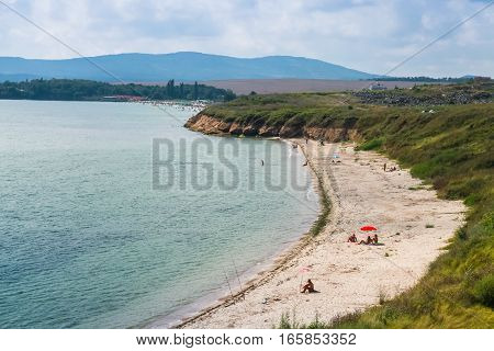 Sandy beach Black sea coast Burgas Bulgaria