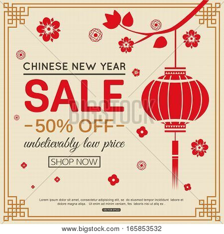 Chinese New Year sale banner design with paper lantern for online shopping, tree branch and leaves. Vector illustration.