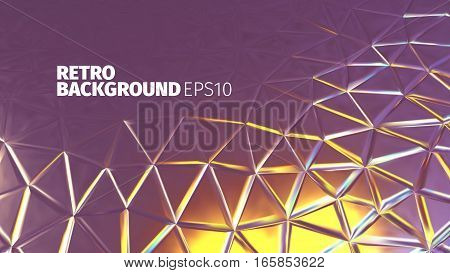 Retro triangular purple and yellow background. Vector shiny banner. Luxury backdrop for web