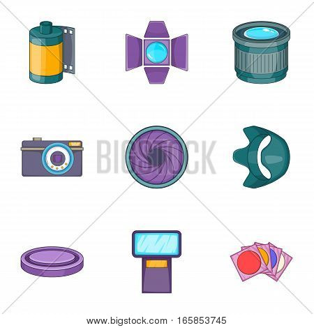 Photography equipment icons set. Cartoon illustration of 9 photography equipment vector icons for web