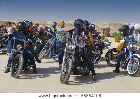 JERICHO ISRAEL - NOV 12 2016: Members of am Israeli biker club during a trip in Judean desert.
