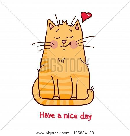 Cute red cat on white background vector illustration. Have a nice day