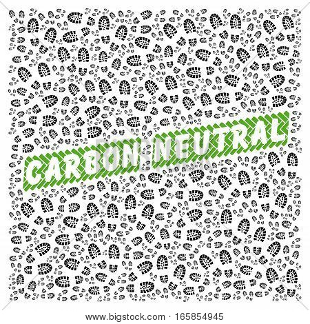 Carbon neutral illustration label concept with footprints