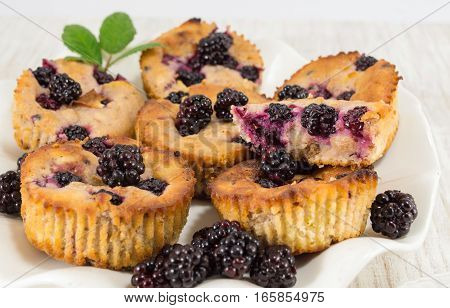 Blackberry Muffins On A Plate