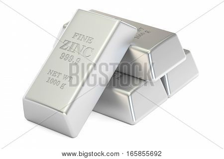 zinc ingots 3D rendering isolated on white background