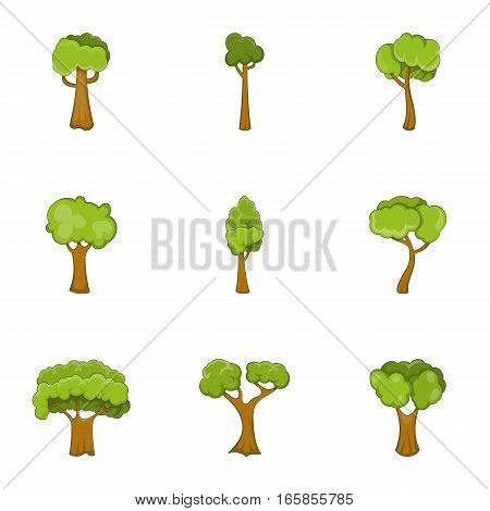 Tree branch with green leaves icons set. Cartoon illustration of 9 tree branch with green leaves vector icons for web