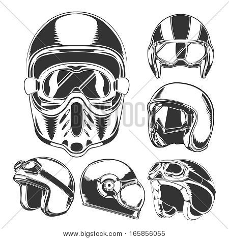 Motorcycle helmet collection with glasses on white background in vintage style isolated vector illustration