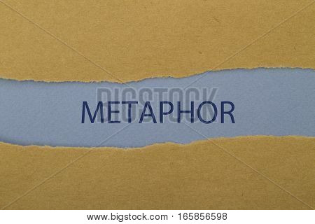 metaphor word written under torn paper .