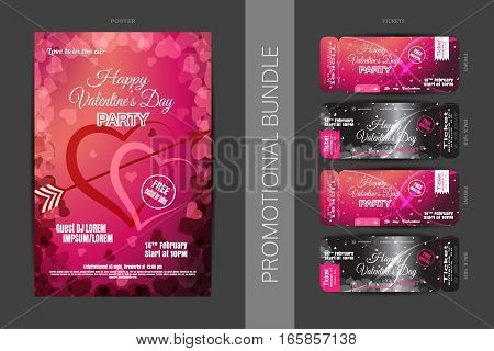 Vector Happy Valentine's Day night party promotional bundle of gradient red and pink poster and tickets with hearts on the dark gray background.