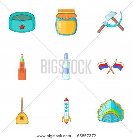 Travel to Russia icons set. Cartoon illustration of 9 travel to Russia vector icons for web