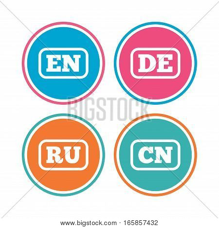 Language icons. EN, DE, RU and CN translation symbols. English, German, Russian and Chinese languages. Colored circle buttons. Vector