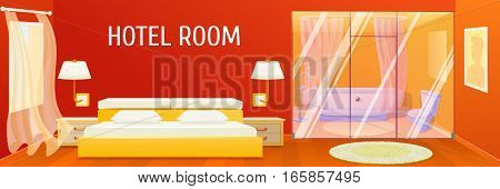 Hotel apartment interior template with spacious comfortable bedroom and stylish bathroom vector illustration