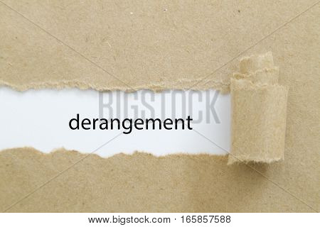 Derangement word written under torn paper .