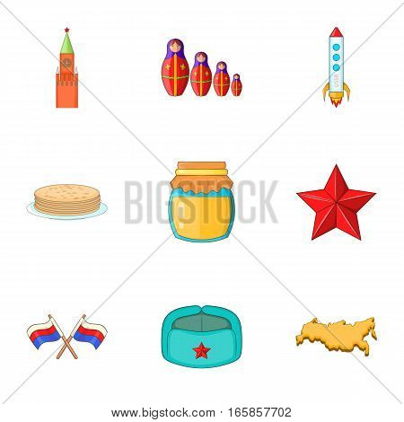 Russia elements icons set. Cartoon illustration of 9 Russia elements vector icons for web
