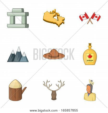Canada icons set. Cartoon illustration of 9 Canada vector icons for web