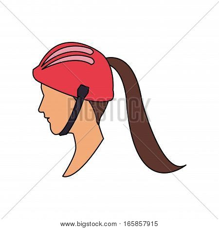 woman with safety equipment cartoon icon over white background. colorful design. vector illustration