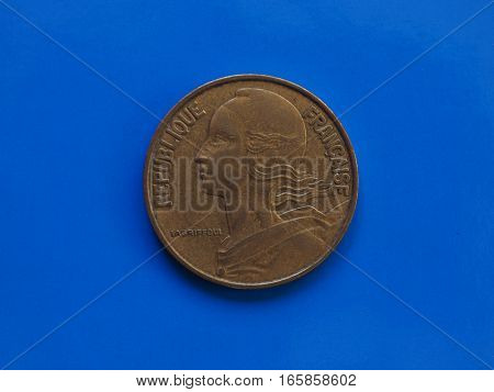20 Cents Coin, France Over Blue