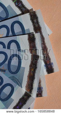 Twenty Euro Notes - Vertical
