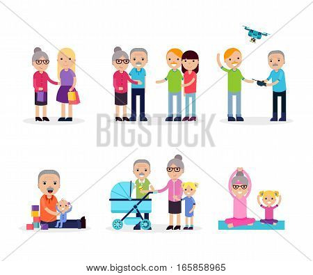 Active leisure composition with retired people in different situations in flat style isolated vector illustration
