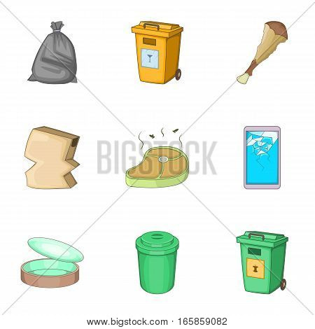 Trash for recycling icons set. Cartoon illustration of 9 trash for recycling vector icons for web