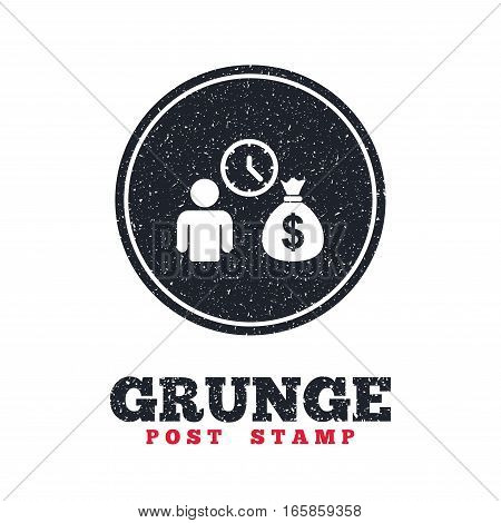 Grunge post stamp. Circle banner or label. Bank loans sign icon. Get money fast symbol. Borrow money. Dirty textured web button. Vector