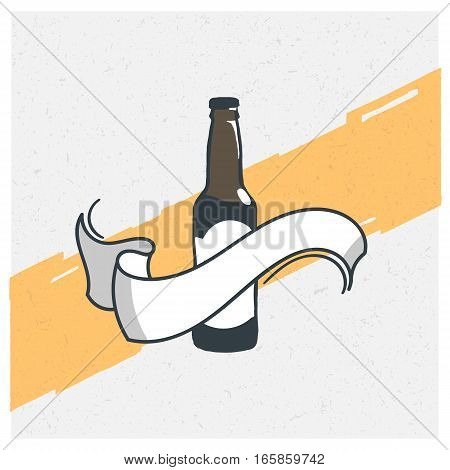 Hand drawn vintage bottle of beer. Sketch style. Vector illustration. T-shirt print. Poster. Logo. Hipster. Retro badge