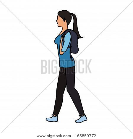 woman walking cartoon icon over white background. colorful design. vector illustration