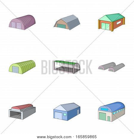 Hangar icons set. Cartoon illustration of 9 hangar vector icons for web