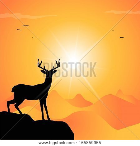 vector illustration of deer silhouette at sunset