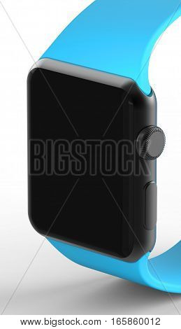 Black aluminum watch with blue stripe. 3d rendering.