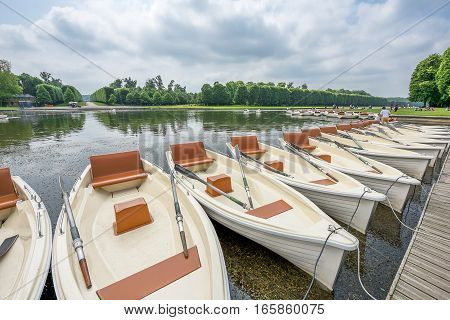 Versailles, France - June 2016: boats on rent in the park of Versailles palace