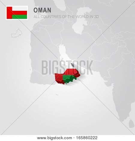 Oman painted with flag drawn on a gray map.