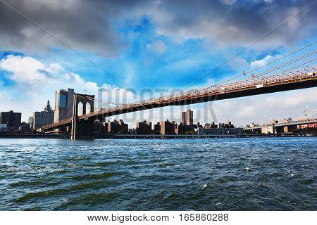 New York skyline with Brooklyn bridge view