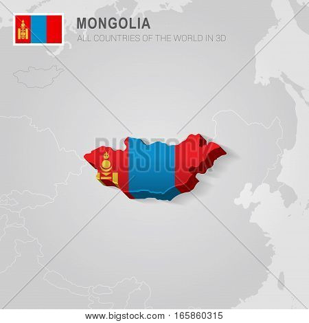 Mongolia painted with flag drawn on a gray map.