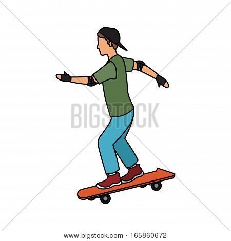 young man riding a skateboard over white background. colorful design. vector illustration