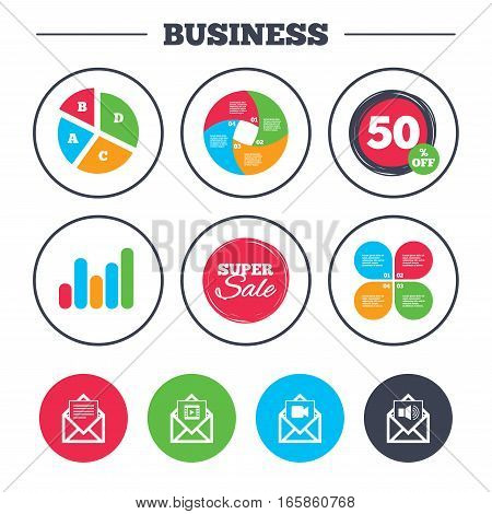 Business pie chart. Growth graph. Mail envelope icons. Message document symbols. Video and Audio voice message signs. Super sale and discount buttons. Vector