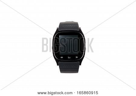 Front view of black smart watch isolated on a white background