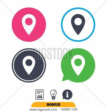 Map pointer icon. GPS location symbol. Report document, information sign and light bulb icons. Vector