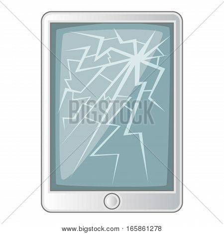 Tablet with broken screen icon. Cartoon illustration of tablet with broken screen vector icon for web design