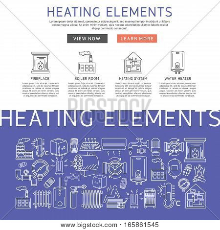 Heating elements outline vector. Linear heating system template for brochure poster and banner.