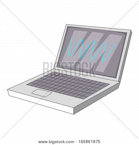 laptop with sound waves icon. Cartoon illustration of laptop with sound waves vector icon for web design