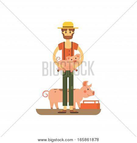 farmer with fanny pig isolated. carton illstration of farming eps10