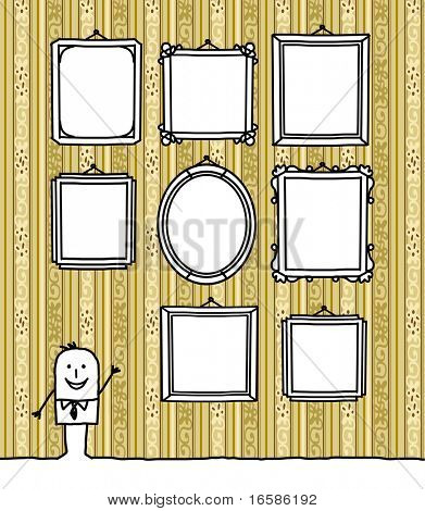blank frames on wallpaper