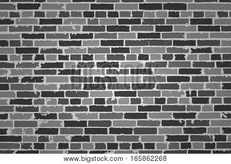 Detailed Hand Drown Texture Of Black And White Old Brick Wall. Vector Illustration