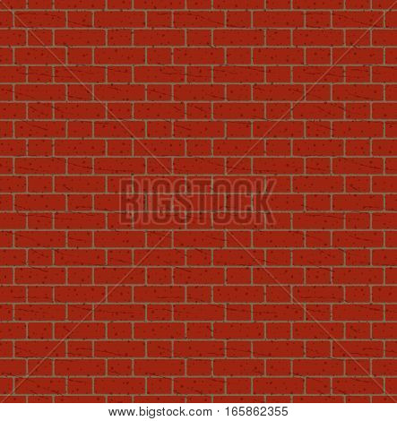 Red bricks wall seamless pattern vector background